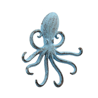 Decorative distressed blue resin multiple wall octopus hook