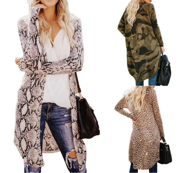 Long Sleeve Camouflage Cardigan sweater kint mujer long Tops Casual Leopard Printed Loose Outwear <strong>trench</strong> <strong>coat</strong> <strong>for</strong> <strong>women</strong>