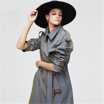 lady high quality European western slim fit jacket women long military style trench coat