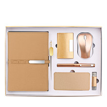 Lange Zilveren Knop Notebook + Pen + Usb Flash Drive + Bookmark + Naam Kaarthouder + Draadloze Muis + power Bank <span class=keywords><strong>Gift</strong></span> Set