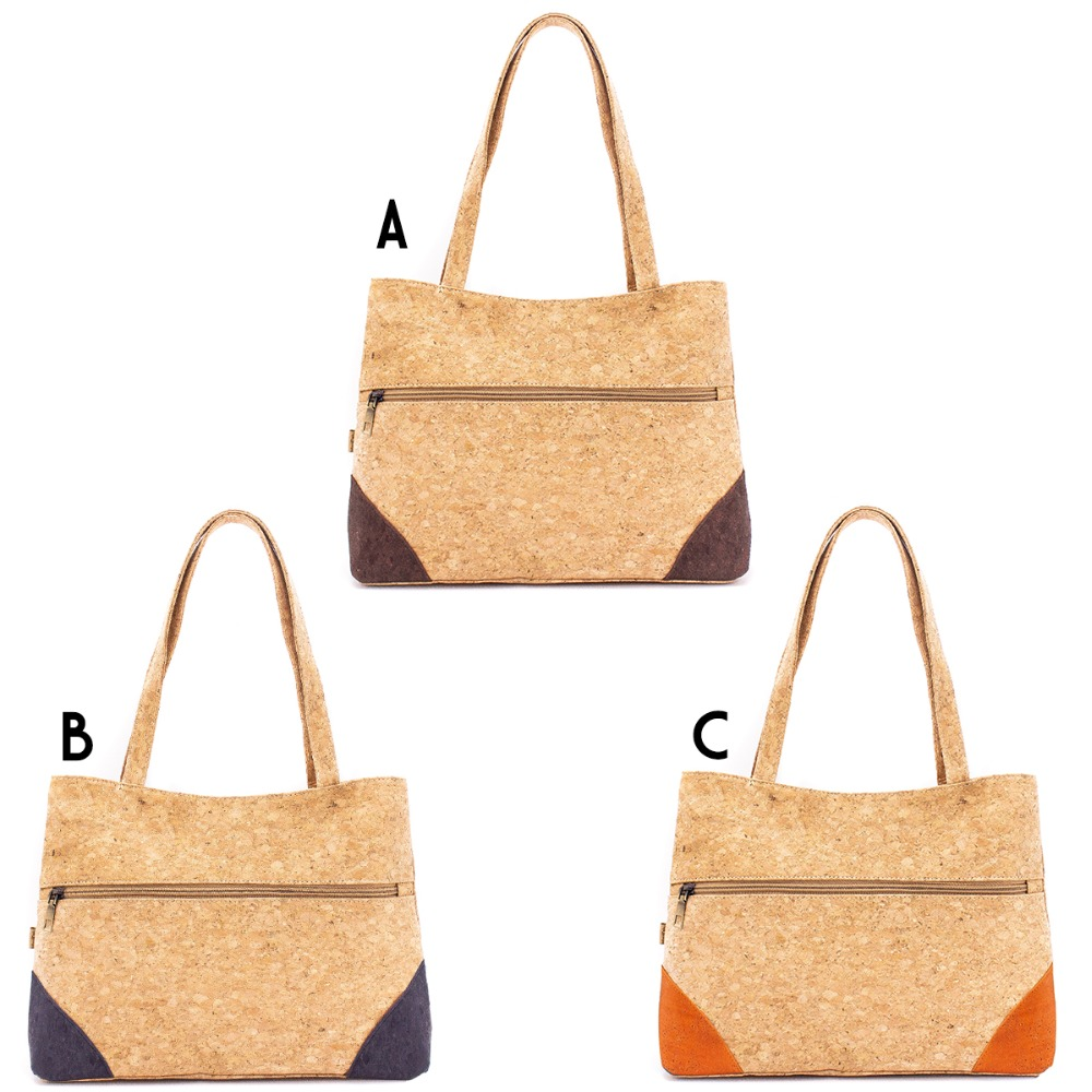 product-GF bags-Newest Fashion Eco-friendly Girls Natural Cork Handbag with Front Zipper Pocket-img