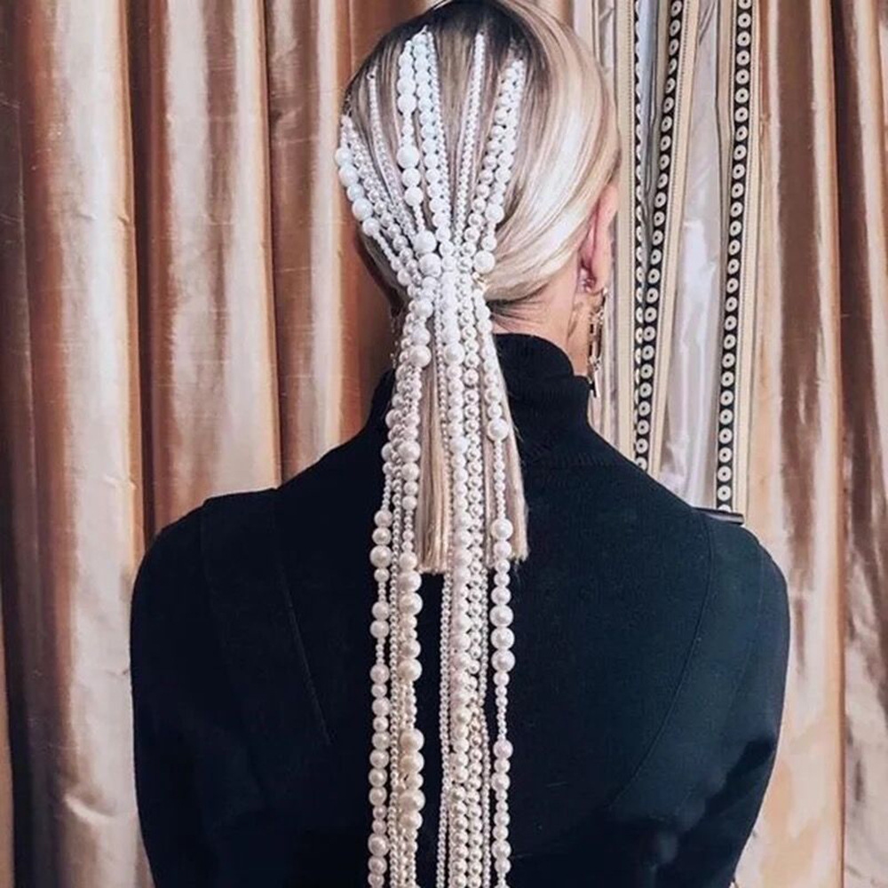 2020 New Design long pearl chain fashion tassel hair accessories cool metal head clip for women's jewelry wholesale
