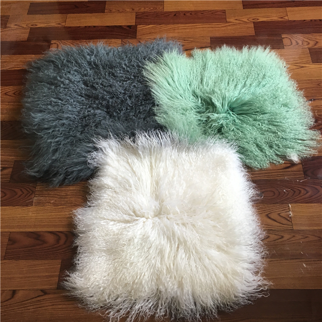 Wholesale and retail Real Mongolian lamb fur pillow