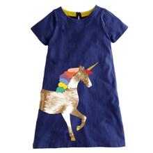 Летние платья для девочек, платье с аппликацией в виде животных для девочек, детские платья с принтом в виде единорога, одежда для девочек, д...(Китай)