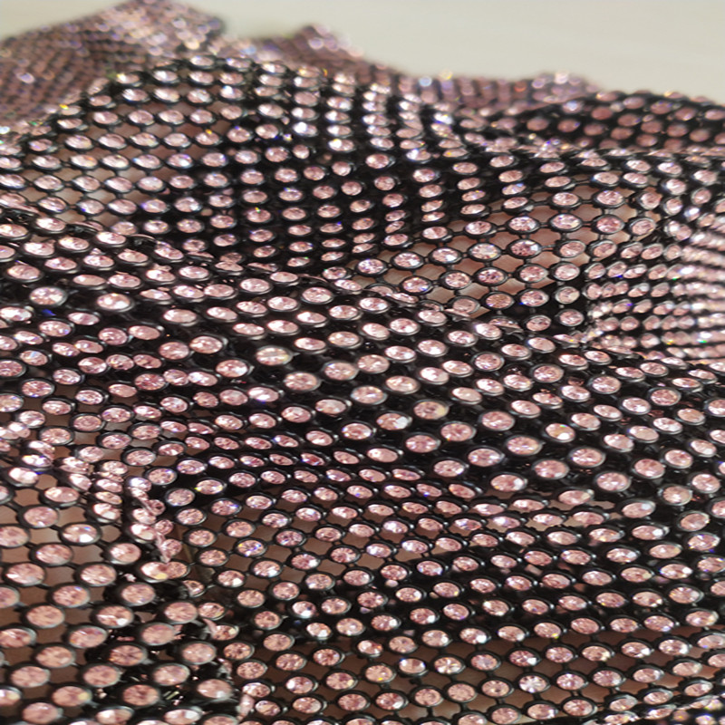 45x120cm Aluminum mesh pink crystal rhinestones for garment and bag