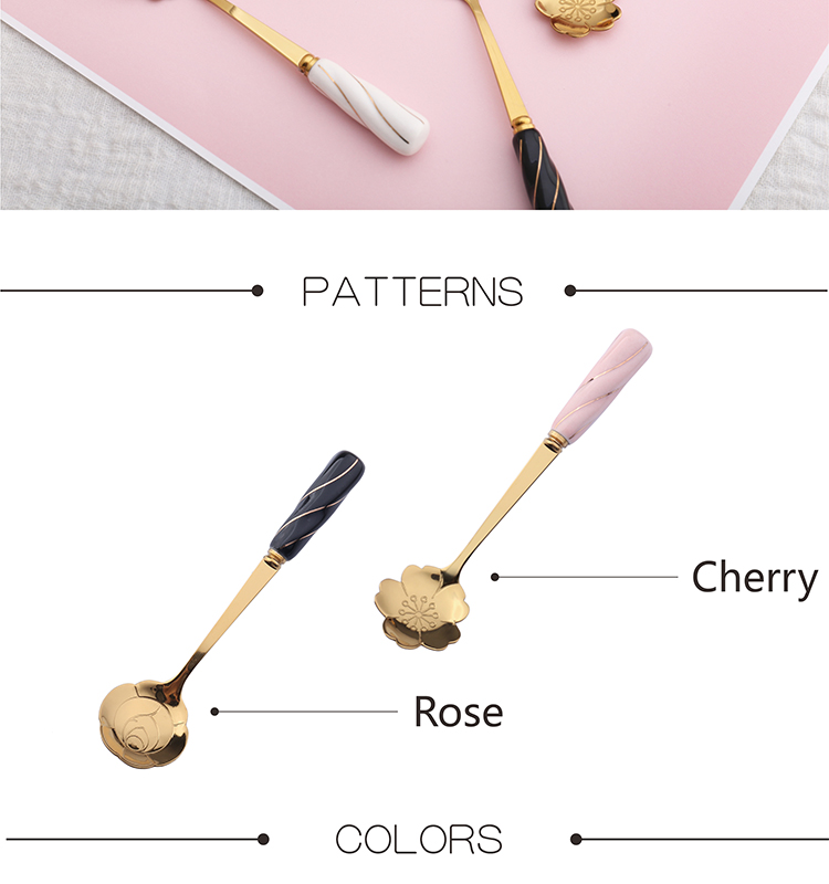Latest design titanium bulk flower shape rose gold tea coffee stainless spoons