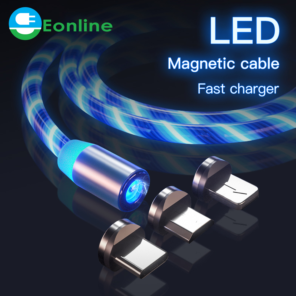 LED Glow Flowing magnetic Charger usb <strong>cable</strong> Type C Micro USB C 8 Pin Charging for 8-pin android magnetic <strong>Cable</strong> Charge Wire Cord