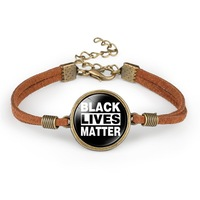 2020 New Fashion Black Lives Matter Time Handmade Charm Adjustable Bracelets Black I Can't Breathe Leather Weave Jewelry