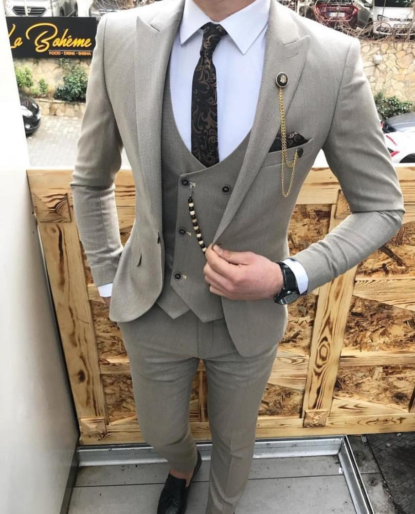 Tailor Made 3 Pieces Mens Suits Slim Fit Business Suits Groom Tuxedos for Wedding suits(Blazer+Pants+Vest)
