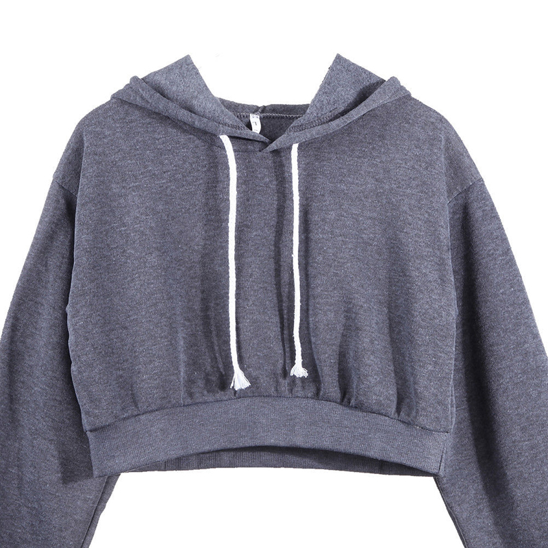 Women Fashion Hoodie Sweatshirt Jumper Sweatershirt Short top Coat Sport Pullover Hooded Tops Female Autumn Winter Clothes