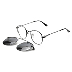 DC3042 unisex round metal polarized clip on sun glasses