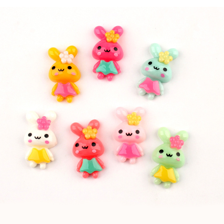 cute colored rabbit flat back <strong>resins</strong> for hair bows