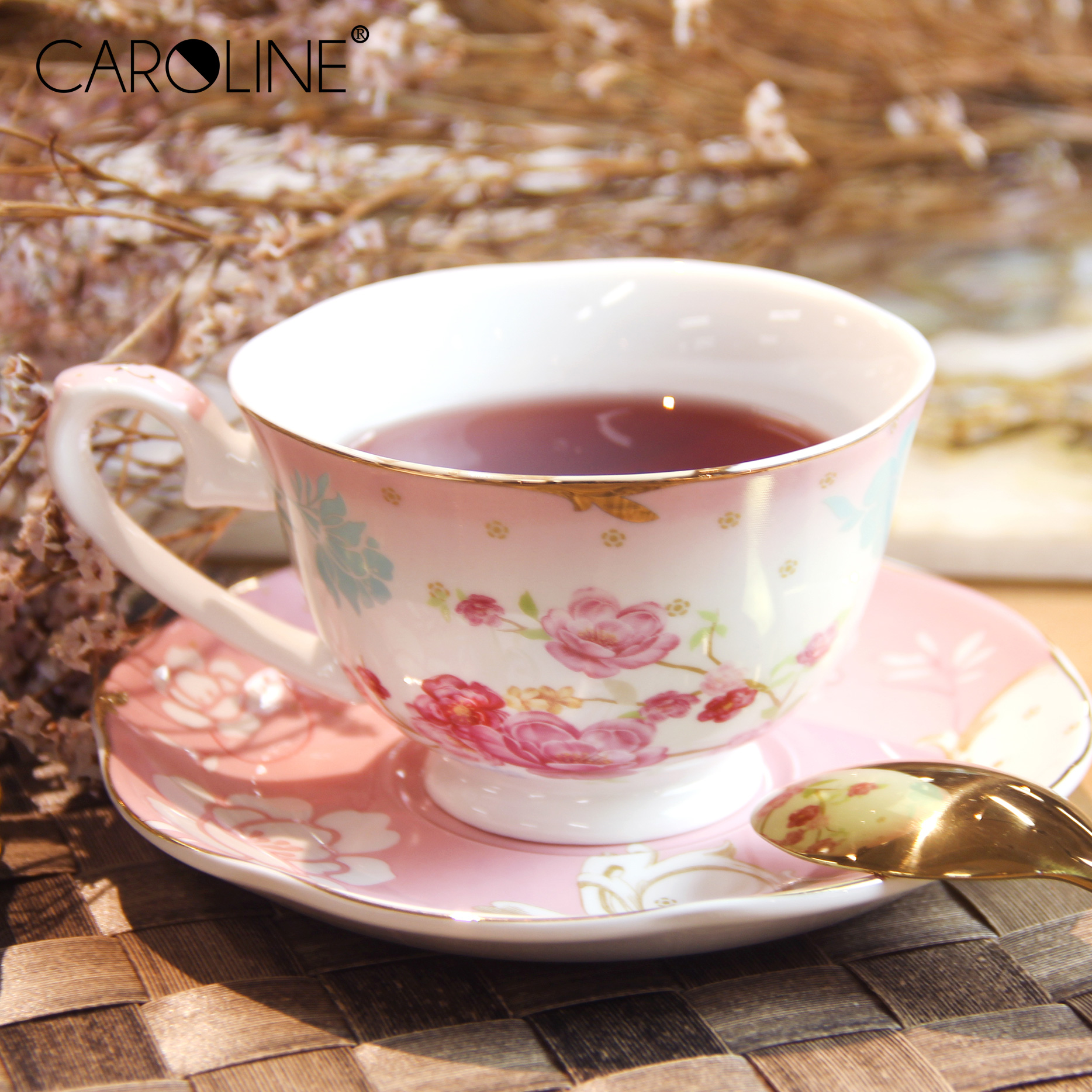 2020 Gold Decal 250ml Floral Ceramic Stacking Rose Coffee Cup and Saucers <strong>Set</strong> <strong>Porcelain</strong>