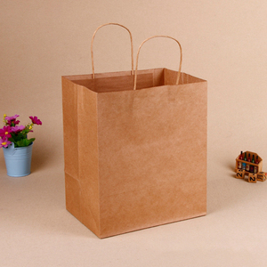 square Wide Bottom Takeaway Kraft Fast Food Packing Paper Gift Bags