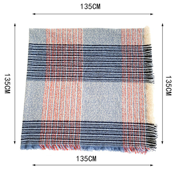 Hot Sales Fashion Square Scarf Warm Winter Women Wool Plaid Blanket Cashmere Scarf Pashmina Wrap Shawls and Scarves