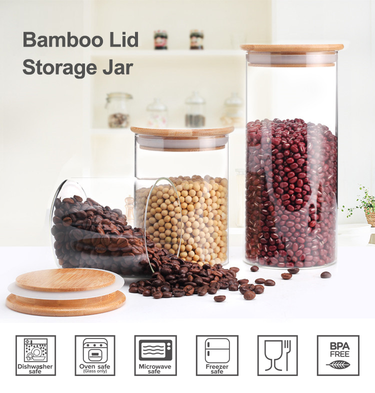 Eco friendly heat resistant high borosilicate glass jar with bamboo lid for food storage