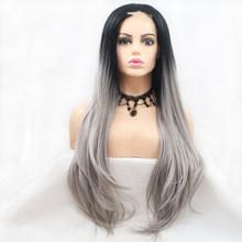 """24 """"u-образный фронтальный кружевной парик для женщин, синтетический парик для волос с детскими волосами, натуральные, похожие на человечески...(Китай)"""