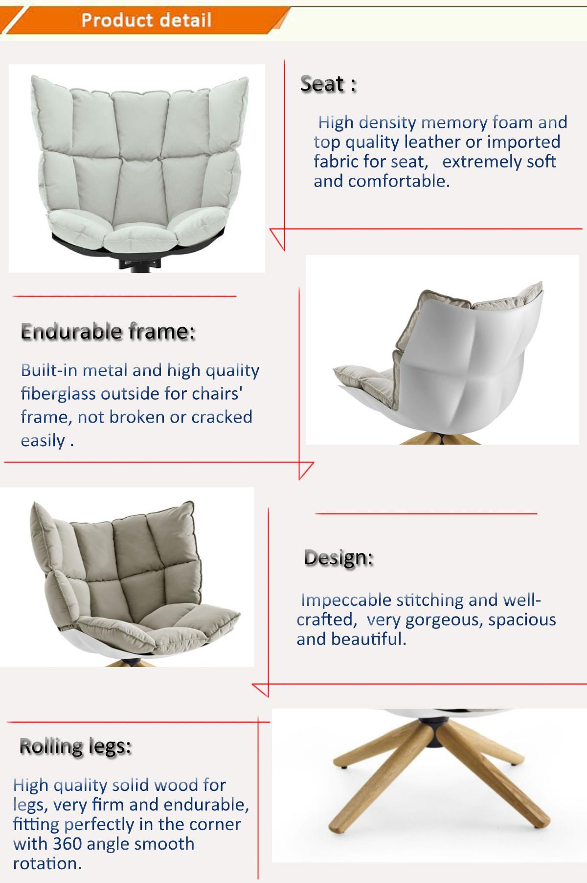 Diseño único de lujo tela tapizada de madera maciza piernas muebles de diseño interior giratoria Marco de fibra de vidrio comedor cáscara silla