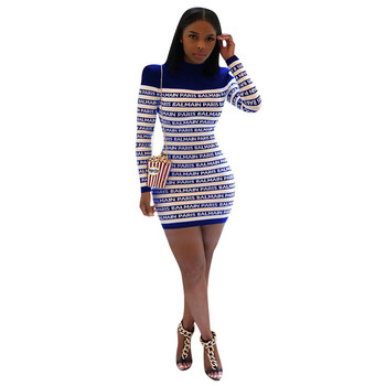 A91677 Woman clothes longsleeves printed letters Dresses fashion bodycon dresses fall new 2019 hot seller