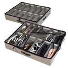 Houseware Adjustable Dividers Clothes Storage Bag Fits 12 Pairs Each UnderBed Shoe Storage Organizer