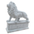 Hand-carved white marble lion sculpture with wings