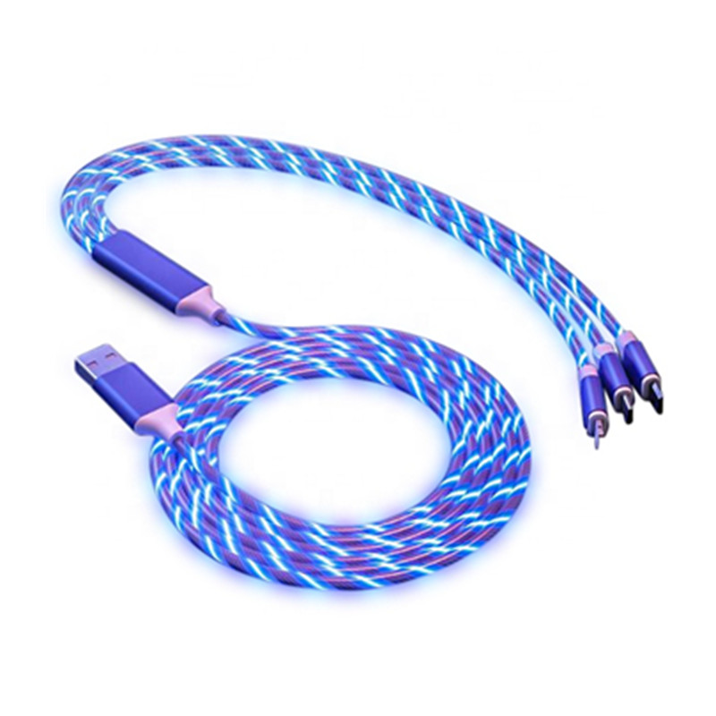3 in 1 Flowing Colors LED Glow USB Charger Cable Micro USB Type C Charging Cord lighting For iPhone Xiaomi Android phone Charge