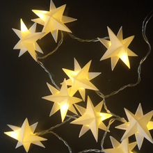 Bianco caldo Finestra Di Natale Matrimoni Decorazione LED Stelle Scintillanti Fata Luci Tenda Della Stringa Double sided stella di carta