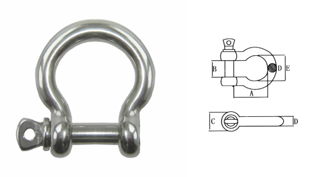 Stainless Steel Bow Shackle for Shade Structure Installation