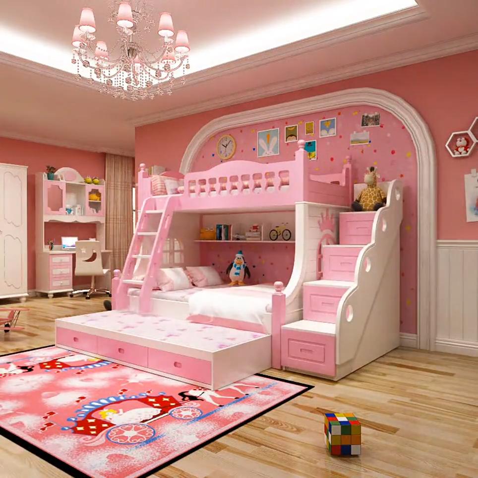 Prezzi di fabbrica a buon mercato per bambini letto a castello con scale mobili per la casa mobili camera da letto