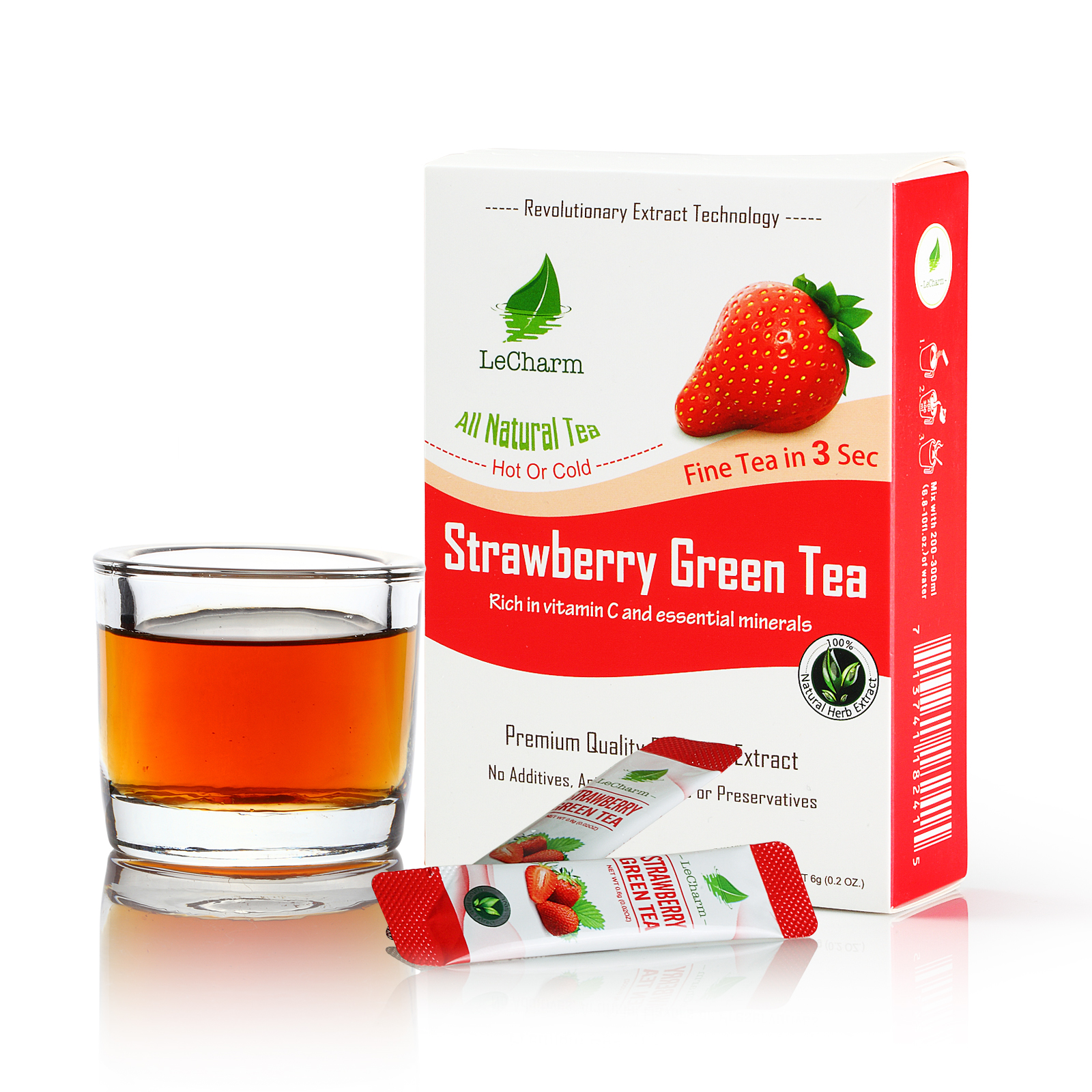 Iced Water Soluble Instant <strong>Strawberry</strong> Tea Extract <strong>Fresh</strong> Fruit Extract <strong>Strawberry</strong> Flavored Green Tea Drink for Weight Loss