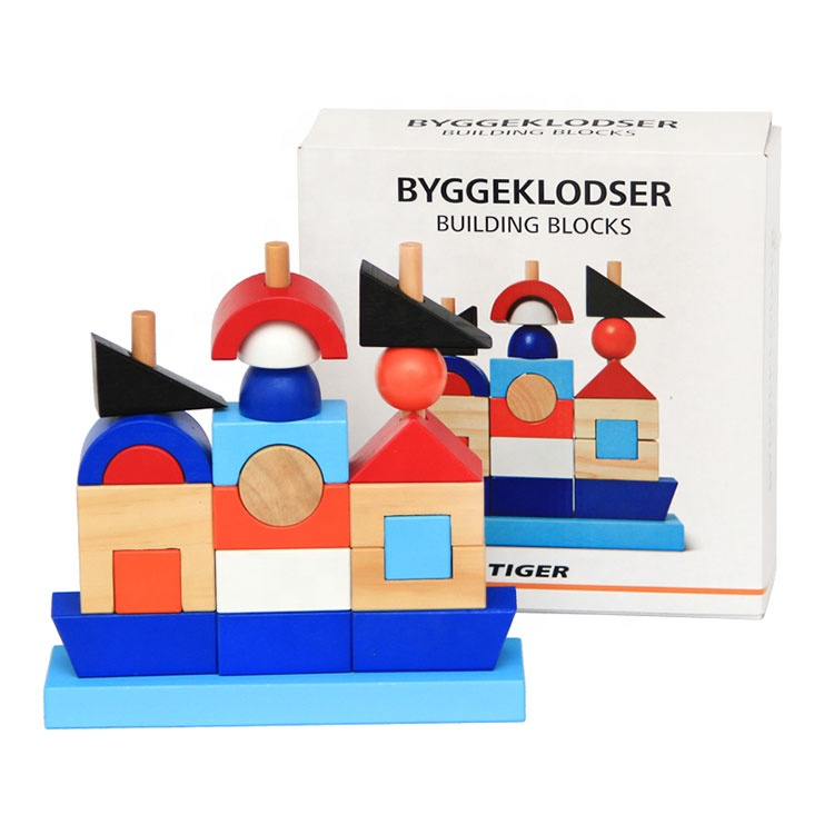 Custom Creative Irregular Shape Funny Stacking Wooden Table Toy Set Building Block Puzzle Set