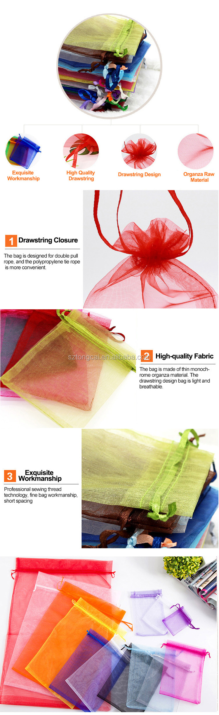 Cheap Organza Material Gift Bag 25x35cm Cocktail Packing Organza Bags Wedding Favors Bag Pouch