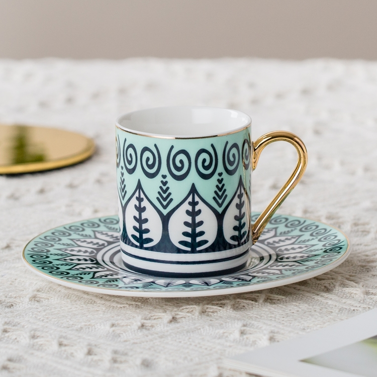 Pourpular design 6 coffee cup sacer set Turkish design fine bone China ceramic coffee cup set