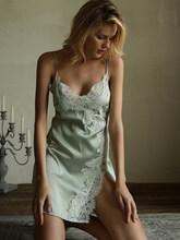 Летняя ночная рубашка, Сексуальное Женское ночное платье, ночное белье, шелковая ночная рубашка, женское нижнее белье, мини-платье Ночная ру...(Китай)