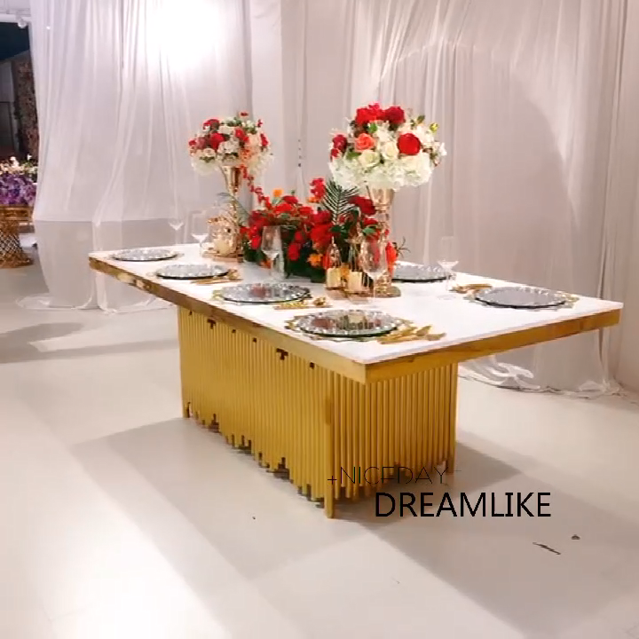 Modern design furniture stainless steel wedding chairs and tables