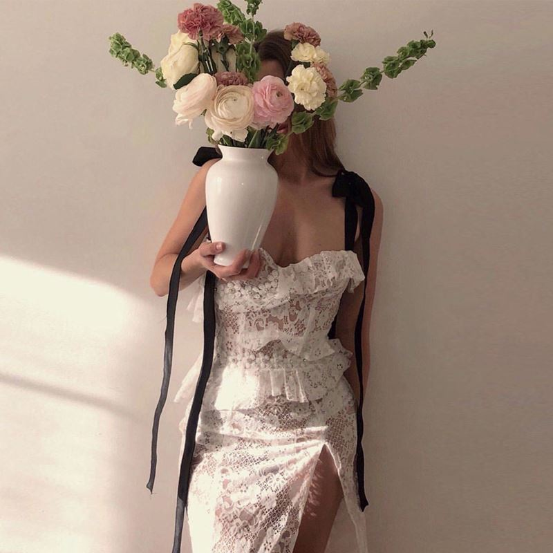 2019 Ladies white deep slash neck mesh lace up straps summer split pencil bridal ruffled sexy embroidered lace dress vestidos
