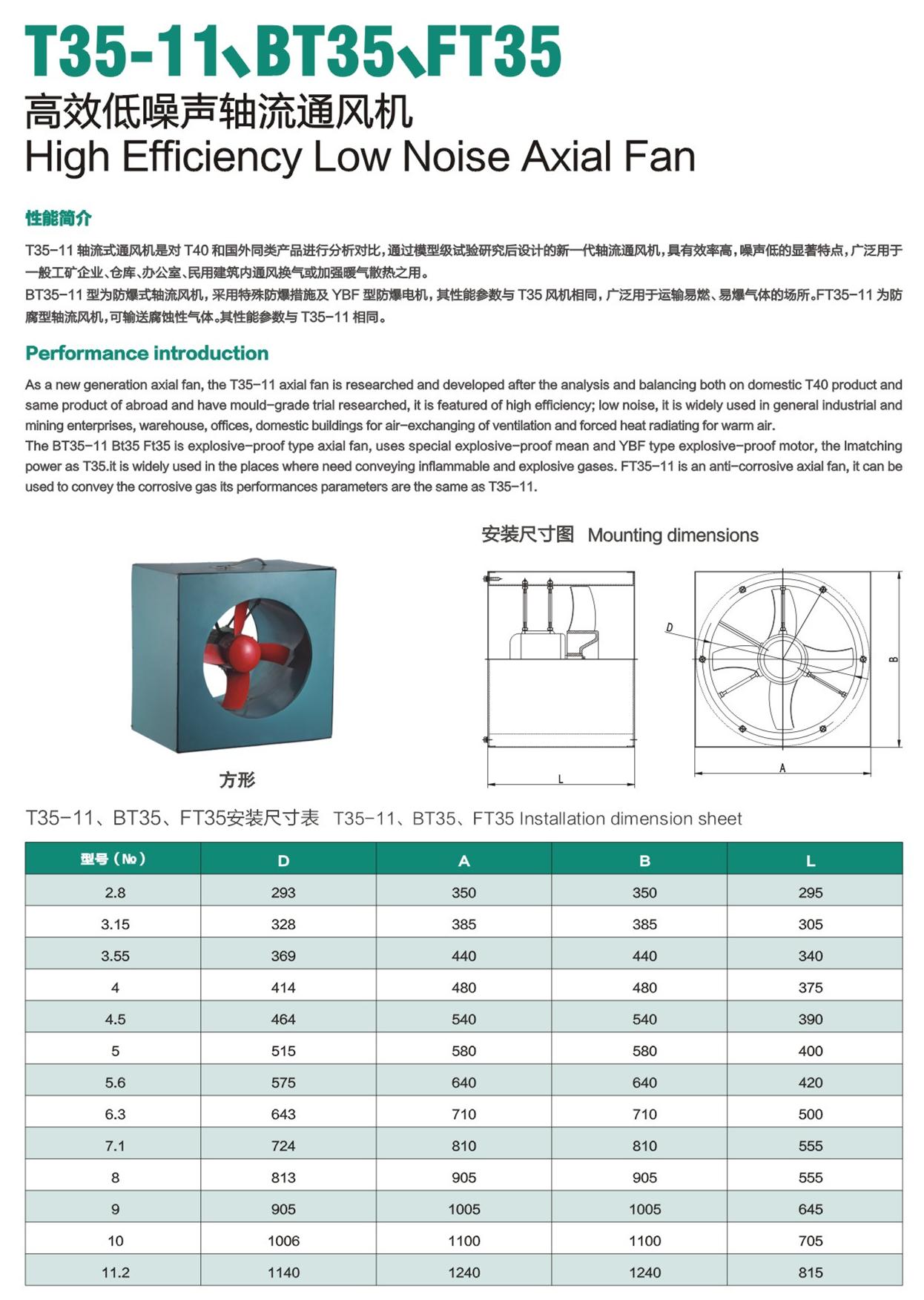 T35-11/BT35/FT35 HIGH EFFICIENCY LOW NOISE AXIAL FAN