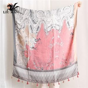 Lm China Beautiful Ladies Scarf Shawl Custom Printed Scarves Linen Tassel For Women, View