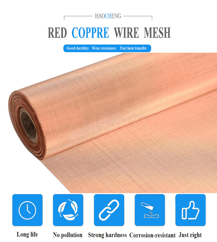 shielding electronic industry Application and Woven Type shielding room used copper mesh