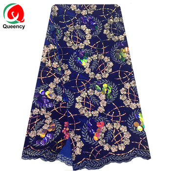 Queency Hot Styles Embroidery Cord Lace for Nigeria Dress Purple emerald net fabric with shine sequin and stones