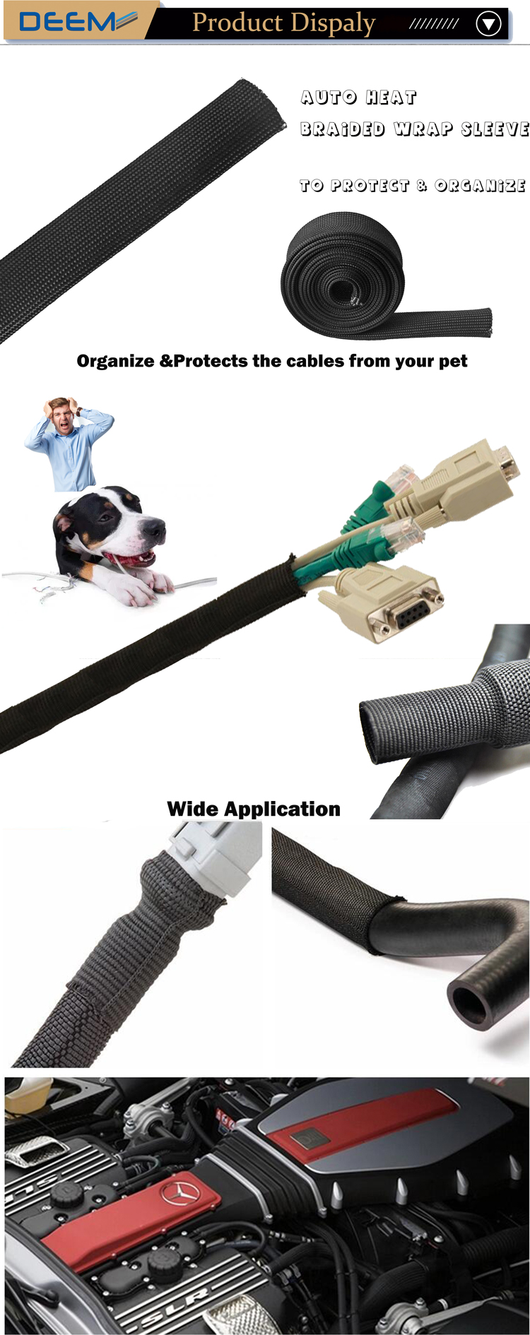 DEEM Fire Resistant and free sample heat shrink cable protection sleeve