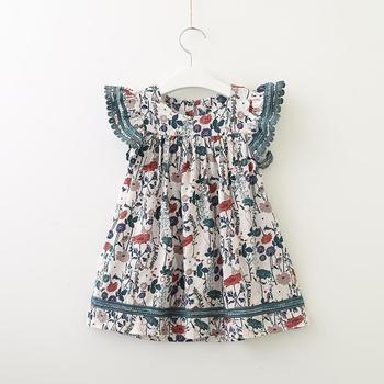 whosale children clothing european style baby girl broken flower fly sleeve dress 2019 new summer cute kids frocks