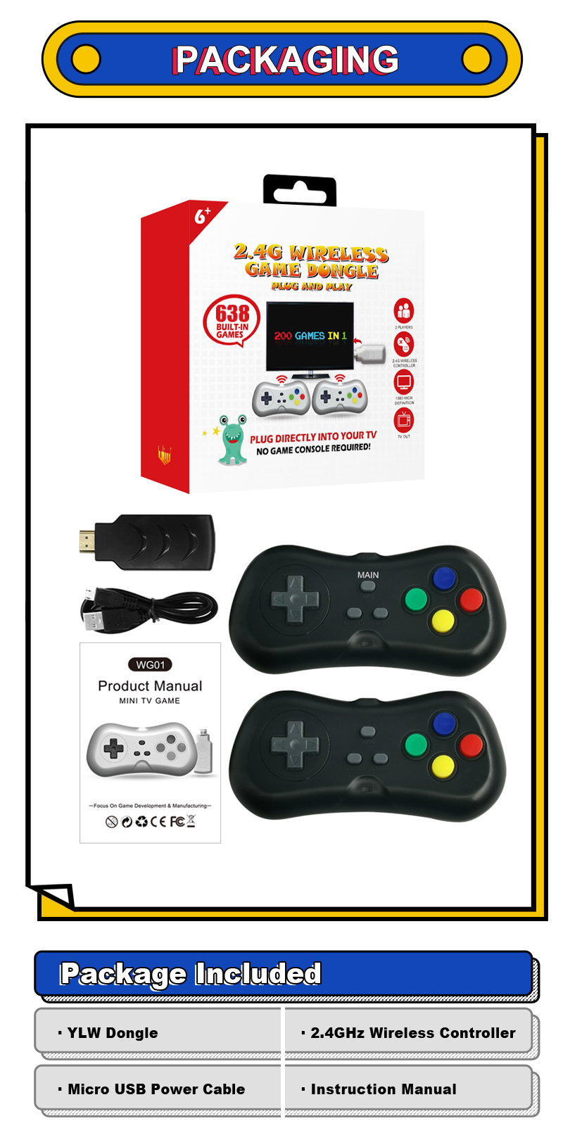 YLW Good Quality Factory Directly With Lowest Price Game Classic 8 Bit Console Retro Games WG01-200