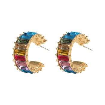Retro Women Jewelry Rainbow Color Small Hoop Gold Plated Earrings Temperament Female Gradient Zircon Punk Stud Earring