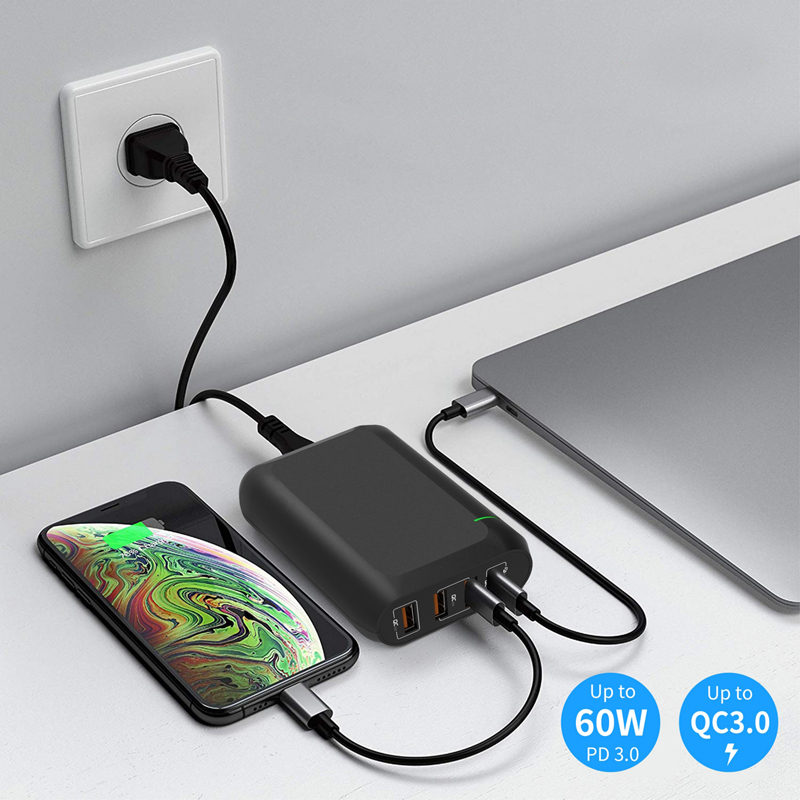 PD Type C Wall Charger 66w 4 port PD USB-C Power Adapter charger 30W PD+18W Type C Port for phone and tablet