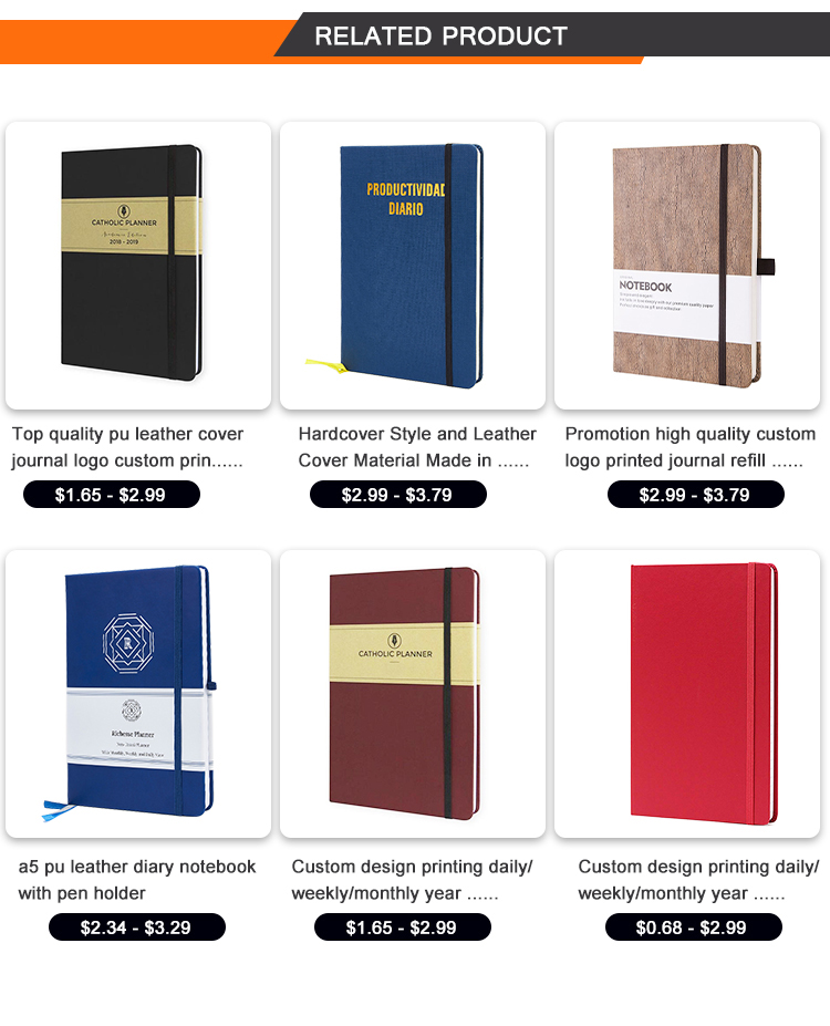 hot sale daily planner embossed PU leather cover agenda organizer journal