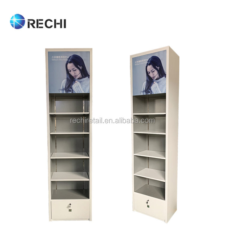 RECHI Custom Wood Retail Cell Phone Accessory Display Shelf Unit With Led Light Showcase For Mobile Phone Shop Design & Fitout