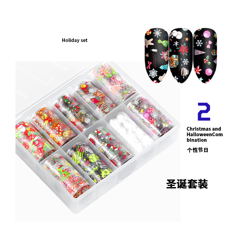 120*4cm 10 rolls/box new halloween christmas style patterns nail decals stickers christmas transfer foil nail art stickers
