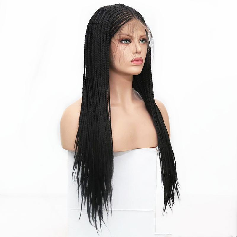 Ketebalan 180% Wig Kepang Mikro Hitam Sintetis Renda Depan Wig Setengah Kotak Cornrow Wig Kepang Rambut Afrika Sintetis untuk Wanita