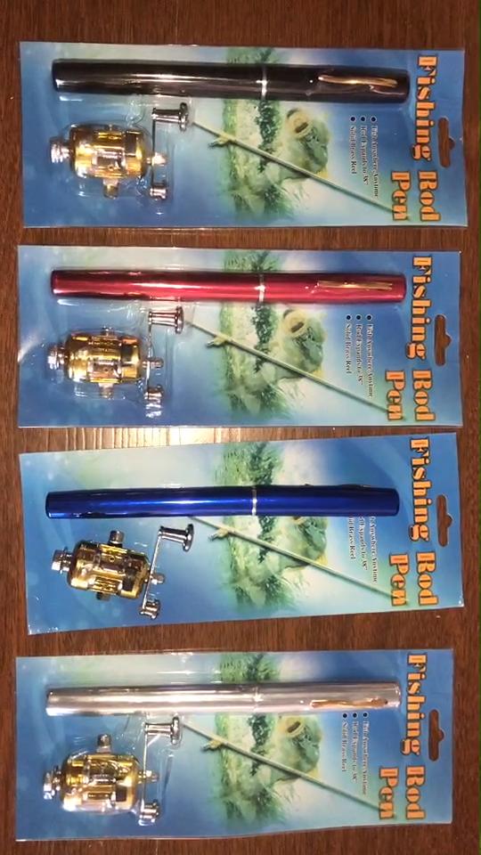 1 m Iplik Taşınabilir Cep Mini Olta Teleskopik olta kamışı Kalem Şekli Katlanmış Balıkçılık Çubuk Metal Iplik Makarası Tekerlek